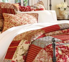 Pottery barn quilts are always awesome. I love the bright and cheery red patchwork. I think it could work in a cabin if you wanted a bit more of a cottage type feel. Bedroom Red, Home Bedroom, Master Bedroom, Bedroom Decor, Serene Bedroom, Upstairs Bedroom, Bedroom Ideas, Pottery Barn Quilts, Farmhouse Bedding Sets