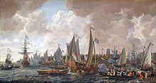 Charles sailed from his exile in the Netherlands to his restoration in England in May 1660. Painting by Lieve Verschuier.