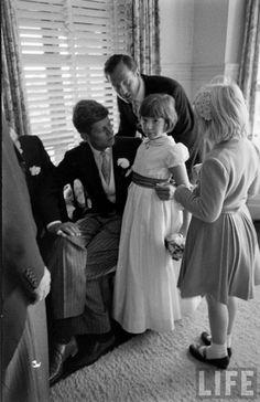 JFK and Jacqueline Bouvier's wedding, September 12, 1953. Janet Auchincloss Rutherfurd and John F. Kennedy