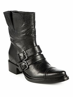 Miu Miu Leather Double-Strap Motorcycle Boots