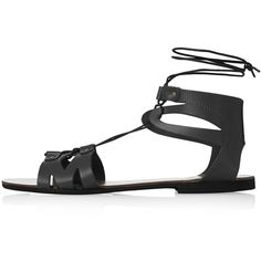 TOPSHOP HILT Flat Tie Sandals (€20) ❤ liked on Polyvore featuring shoes, sandals, sapatos, flats, flat sandals, black, leather shoes, leather flat shoes, black leather sandals e flats sandals