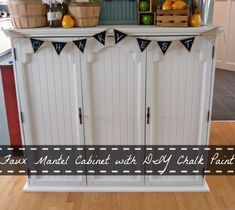 Faux Mantel Cabinet from an Old China Hutch using DIY Chalk Paint (The Happy Housie) Repurposed Furniture, Painted Furniture, Repurposed Items, Distressed Furniture, Furniture Makeover, Diy Furniture, Hutch Makeover, Modern Furniture, Faux Fireplace