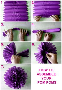Assembling your pom poms is so simple, to create a rounded ball of pretty paper petals.