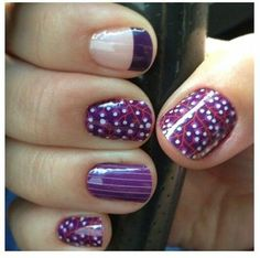 I am loving our fall designs in purple.  Jamberry Nails~ #WildBerryJN, #PurplePinstripeJN, Nail art for short nails.