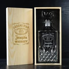 Engraved with groomsmen's mementos, it's a great gift for groomsmen gifts. This custom whiskey decanter will be displayed with pride for years to come. Best groomsmen gifts choice.  decanter measures 9 x 9 x 23cm, 750ml personalized pine wood box with foam liner 9 designs to choose