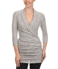 Another great find on #zulily! J-Mode USA Los Angeles Gray Mélange Ruched Surplice Top - Women by J-Mode USA Los Angeles #zulilyfinds