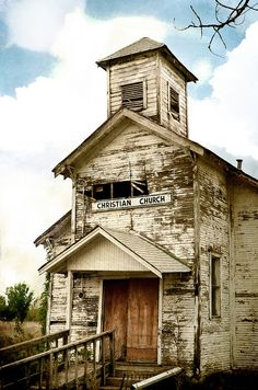Christian Church - the town was abandoned due to cave-in risk of the buildings as well as groundwater contamination by toxic metals, both caused by over a century of unrestricted mining activity beneath the town - Picher (ghost town), Oklahoma, USA