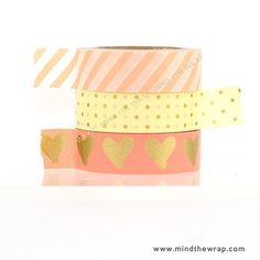 3  rolls, Hearts Dots and Stripes Washi Tape Set - Salmon Pink with Gold Metallic Hearts and Dots - Coral Peach