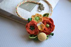 Crochet flower necklace pendant statement ★by FlowersbyIrene