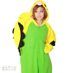 Your best friend just got a pet budgie and now you want one. How about we do you one better? Now you can BE a budgie with our Green Budgie Kigurumi! Next time you see your friend, you can flap your wi