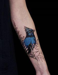 Blue bird tattoo - 110 Lovely Bird Tattoo Designs <3 <3