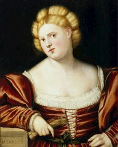 "LICINIO, Birnardino - ""Portrait of a Woman"" (1524) oil on canvas, Galleria Franchetti, Ca' d'Oro, Venice The Venetian Look in The Palma Vecchio and Early Titian Era (1511-40) Page 2 - Venus' Wardrobe"