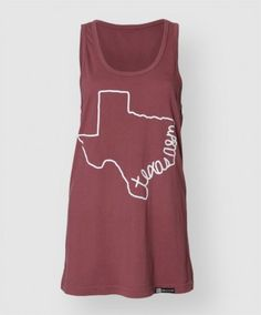 """Rock this soft breezy tank all summer long! It is a light maroon color loose fit tank made of 100% cotton. Featuring a white outline of the state of Texas with script on one side that reads """"texas a"""" in all lower case."""