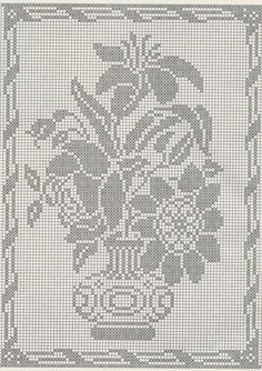 Filet crochet / single color embroidery