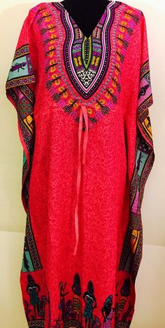 Women Rayon Long Kaftan Caftan Beach Maxi Dress Tribal Design Free Size Pink | eBay