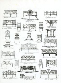 Vintage French Garden Furniture Drawings