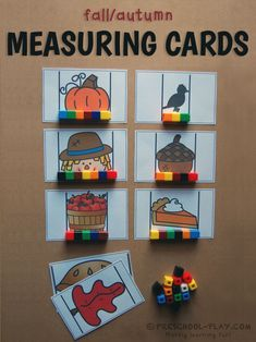Superstars Which Are Helping Individuals Overseas Printable Fall Measuring Cards - These Make For A Fantastic Non-Standard Measurement Activity For Preschool, Pre-K, And Kindergarten. Fall Preschool Activities, Thanksgiving Preschool, Preschool Math, In Kindergarten, Learning Activities, Maths, Preschool Printables, Preschool Lessons, Measurement Activities