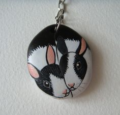 Hand painted rock keychains  Pair of bunnies by Stonesfantasies, £8.22