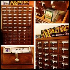 One of the coolest ways to store yourcards? Grab a discarded library card catalog and alphabetize and color coordinate your collection!http://f2fgam.es/MTGStorageHow do you organize your cards?