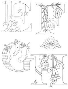Christmas Alphabet embroidered