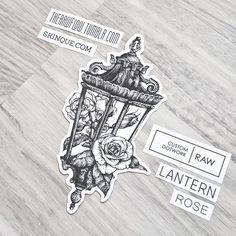 Gothic lantern rose dotwork tattoo design