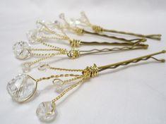 hair accessories. hair pins. bobby pins. crystal hair pin. wedding hair pins. bridesmaids. flower girl. hair accessories. clear hairpins. $16,75, via Etsy.