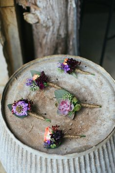 deep hued boutonnieres DIY wedding ideas and tips. DIY wedding decor and flowers. Everything a DIY bride needs to have a fabulous wedding on a budget! Floral Wedding, Wedding Colors, Wedding Bouquets, Rustic Wedding, Our Wedding, Wedding Flowers, Dream Wedding, Flower Girls, Flower Crowns