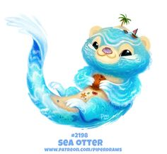 Cryptid-Creations's DeviantArt gallery Daily Paint Sea Otter by Cryptid-Creations Cute Food Drawings, Cute Animal Drawings Kawaii, Kawaii Drawings, Kawaii Art, Animal Puns, Creature Drawings, Horse Drawings, Anime Animals, Cute Creatures