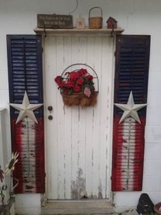 primitive shutter decor, shutter door ideas, the doors, old shutters, americana shutters, door ways, red white blue, garage doors, side door