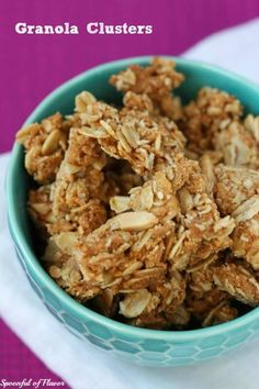 Granola Clusters - maple almond clusters of crunchy granola makes the perfect snack! Super delicious and disappears as fast as I make it Breakfast Recipes, Snack Recipes, Dessert Recipes, Cooking Recipes, Desserts, Breakfast Ideas, Breakfast Menu, Sweet Breakfast, Muesli