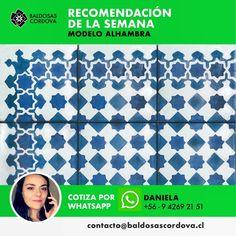 Hoy te recomendamos nuestra baldosa Alhambra. #baldosascordova #artesanosdeltiempo #cementiles #baldosashidráulicas #yomequedoencasa #quedateencasa Curtains, Shower, Prints, Rain Shower Heads, Blinds, Showers, Draping, Picture Window Treatments, Window Treatments