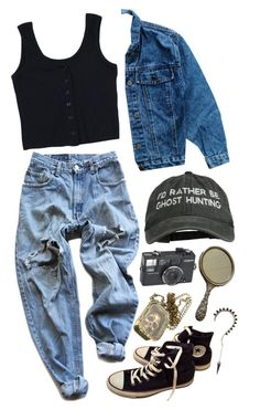 """ghost huntin"" by lepidus ❤ liked on Polyvore featuring Converse, Steiff and Levi's"
