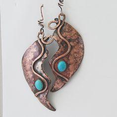Copper and Turquoise Boho Earrings. $38.00, via Etsy.