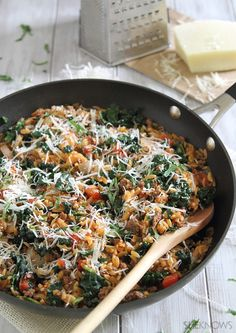 Beef orzo skillet. Could also sub ground turkey.