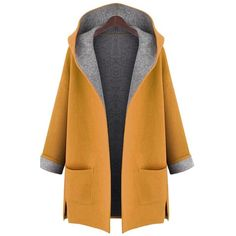 Lingswallow Women's Classic Hooded Cardigan Wool Long Trench Coat... ($38) ❤ liked on Polyvore featuring outerwear, coats, pea jacket, hooded peacoat, hooded trench coats, long wool coats and hooded pea coat