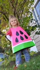 This watermelon costume is made from duct tape! Awesome- maybe the girls could go as fruit next year