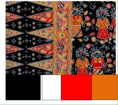 Batik Betawi motif ondel-ondel ini mengangkat figur ondel-ondel yang konon digunakan untuk menolak bala. Diharapkan dengan memakainya, si pemakai akan terhindar dari bala. warna hitam : kehampaan warna putih : suci, murni, bersih warna oranye  kehangatan, menyenangkan warna merah: berani kuat