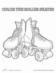 Kindergarten Sports Worksheets: Roller Skate Coloring Page