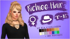 RICHIEE HAIR- BGC - 16 EA Colors - Hat Compatible - Recolors Allowed(Don't include the mesh) - Also recolored in @dustflwr Anathema Palette - Custom Thumbnails for both Putting the download under the...