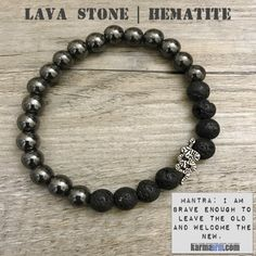 MANTRA: I am brave enough to leave the old and welcome the new. - 8mm Lava Stone Natural Gemstones - 8mm Black Natural Hematite - Tibetan Silver Snake - Commercial Strength, Latex Free Elastic Band -