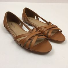 6379a62f3cc2 Torrid Sandals Sze 10W Brown Faux Leather Flats Open Toe (T)  Torrid