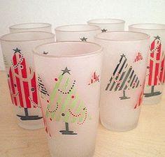vintage christmas glasses