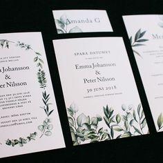 Ny kollektion -Gröna blader krans. #inbjudningskort #savethedate #sparadatumet #menykort #placeringskort #trycksaker #bröllop2018 #bröllopsinbjudan #eukalyptus #greenwedding #bröllopsinspo #bröllopsinspo2018 #inbjudan #inbjudanbröllop #bröllopsmeny