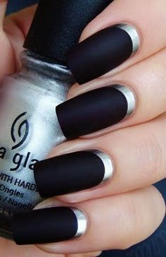Reverse manicure with black and silver