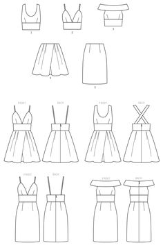 Sewing Pattern for Misses' Dresses with Bodice and Skirt Variations, McCall's Pattern New Pattern, Women's Dress Pattern, Create It! - Sewing Pattern for Misses' Dresses with Bodice and Skirt Dress Design Sketches, Fashion Design Sketchbook, Fashion Design Drawings, Drawing Sketches, Flat Sketches, Kleidung Design, Clothing Sketches, Mccalls Sewing Patterns, Pattern Sewing