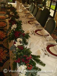 Red winter wedding centerpieces ideaswinter wedding centerpieces christmas theme garland used on the top table at a wedding junglespirit Choice Image