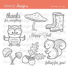 Falling For You Digital Stamps - great for fall themes, creating cards, scrapbook layouts and more.