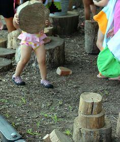 Preschool Gross Motor Activities with Logs and Blocks