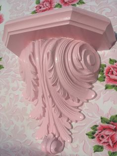 Image detail for -Wall shelf Shabby Chic Pink cottage decor art reclaimed homco romantic ...