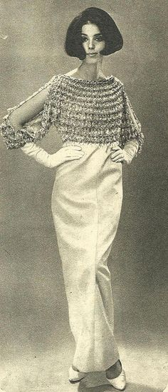 Julie Christine wearing a creation of Yves Saint Laurent.Brazilian Magazine:O Cruzeiro,December 1965.